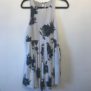 Free People Cloud Blue Floral Print Pleated Dress